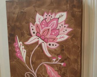 Flower canvas painting 11 x 14 Original hand painted Girls room decor Baby shower nursery Children wall art Kid bedroom Pink brown Jacobean