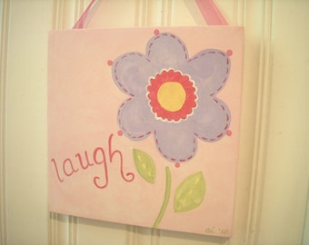 "girl kid room decor..baby nursery wall art..original canvas painting..hand painted artwork..12 x 12 posy lilac personalized ""laugh flower"""
