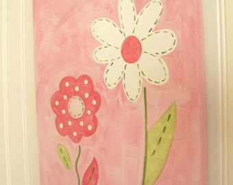 "baby nursery wall art..girl kid room decor..original canvas painting..hand painted artwork..11 x 14 ""spring flower"" pink daisy garden floral"