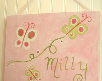 "girl kids room decor..baby nursery wall art..original canvas painting..painted artwork..11 x 14 personalized ""pink n green butterflies"""