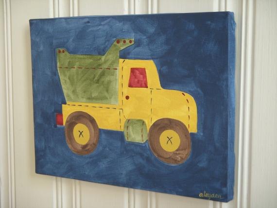 Dump truck canvas painting 11 x 14 Original handmade Boy room decor Baby nursery Children wall art Kid bedroom Construction Transportation