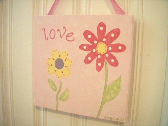 """girl kid room decor..baby nursery wall art..original canvas painting..hand painted artwork..12 x 12 posy pink personalized """"love flower"""""""