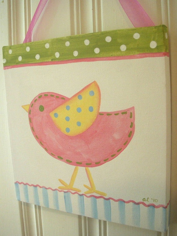 Bird chick girl canvas 12 x 12 painting Pink green yellow Kid room decor Baby nursery Children wall art Hand painted artwork stripe dots