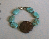Southwestern Style Bracelet, Bohemian coco carved flower and turquoise stone bracelet  (PLUS free turquoise drop  matching earrings)