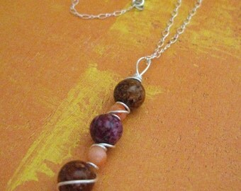 Autumn Pea Pod Wire Wrapped Sterling Silver Necklace