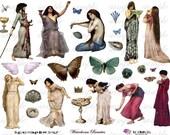 wAtErHoUsE bEaUtiEs - Pre-Raphaelite - ATC - Digital Collage Sheet (no 285)