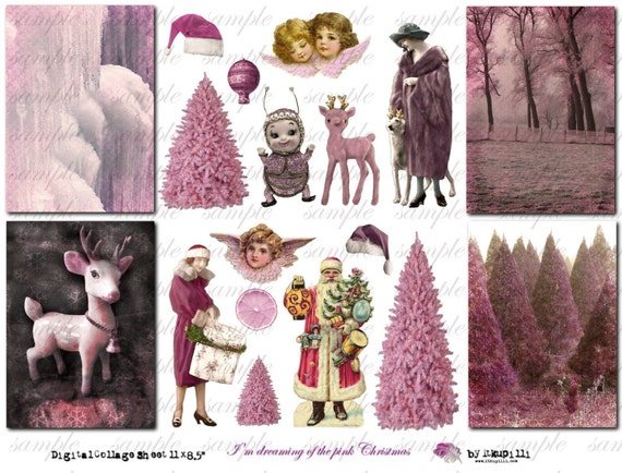 I'm dreaming of the Pink Christmas - Digital Collage Sheet (no 175)