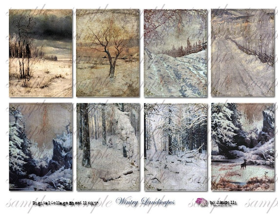 WiNteRy LaNdScApEs - backgrounds -Digital Collage Sheet (no 294)