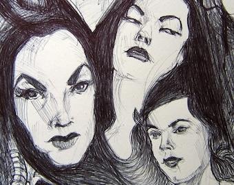 VAMPIRA Ballpoint Drawing of Maila Nurmi