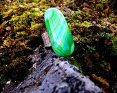 Green Glass Ring Adjustable Sterling Silver