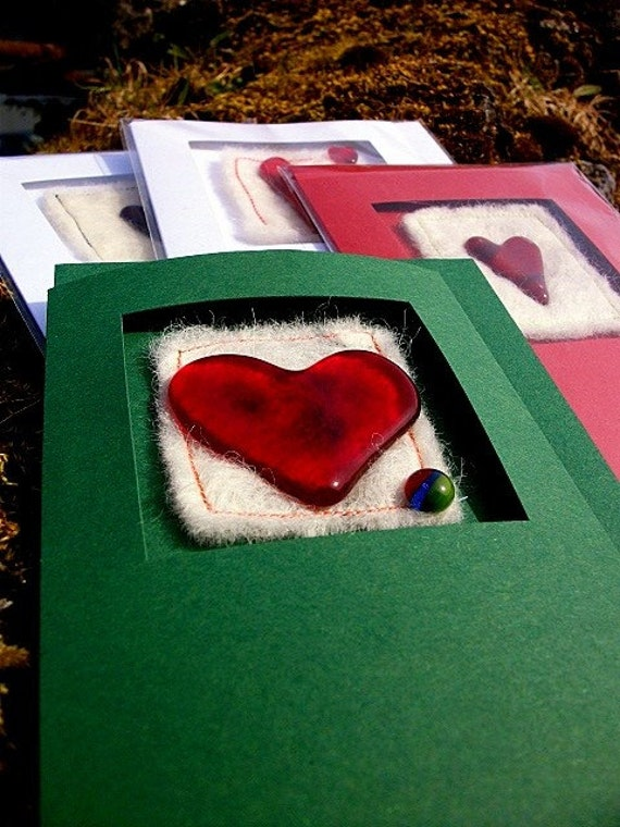 5 PACK Fused Glass and Felted Wool Heart Greeting Card