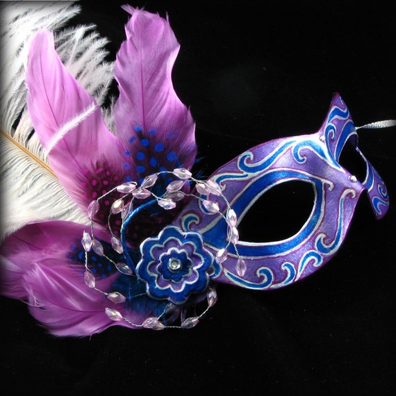 Reserved for jseger27, Marquise in Blue-Purple, Handmade Leather Mask