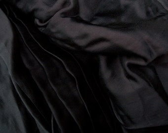 Tencel / Bemberg Cupro blend Satin Black color - Satin and matte reversible fabric - gorgeous drape and hand, soft - fashion fabric, ON SALE