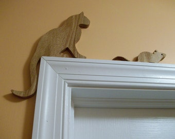 Wooden cat and Mouse door topper