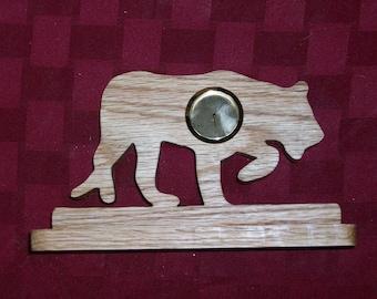 Wooden Jaguar mini desk clock