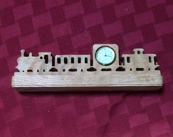 Wooden train miniature desk clock