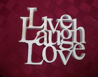 Wooden Love,Laugh and Live display