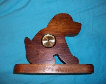Wooden dog mini desk clock