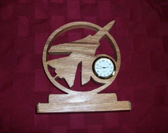 Wooden Jet miniature desk clock