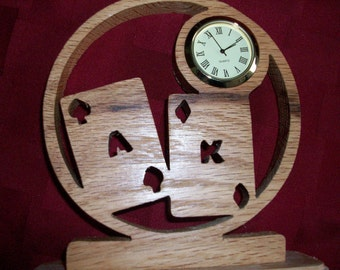Wooden Ace/King miniature desk clock