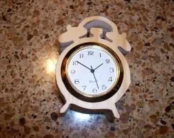 Wooden alarm shaped miniature desk clock