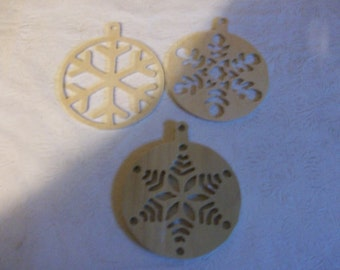 Wooden snowflake christmas tree ornaments