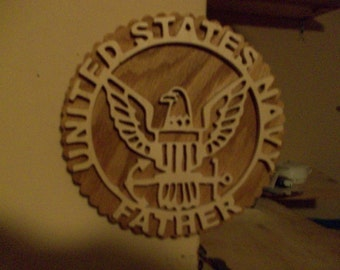 Wooden United States Navy father wall hanging