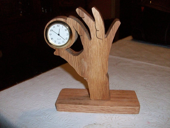 Hand miniature wooden desk clock