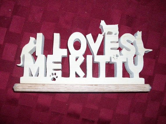 Wooden I loves me Kitty display