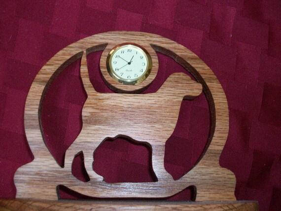 Wooden dog miniature desk clock