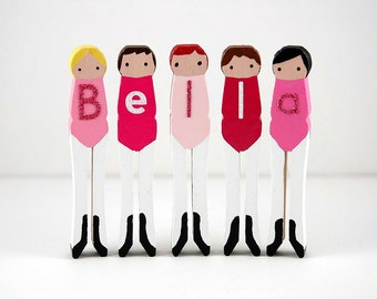 Ballet Clothespin Dolls with Child's Name - Bella