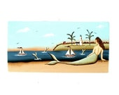 Special for Anna Mermaid n Beach Lighthouse Hand Painted Wooden Plaque 516
