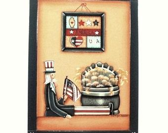 USA Patriotic Display Hand Painted Wood Plaque 175