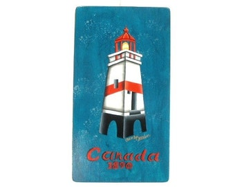 Canada Lighthouse Hand Painted on Wood 571