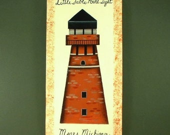 Michigan Lighthouse Sign Art on Wood 630