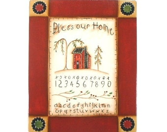 Primitive Home Sampler Handpainted Wood Plaque 639