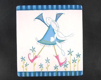 Spring Dancer Hand Painted Wood Plaque 323