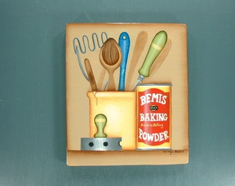 Moms Kitchen Utensils Hand Painted Wood 564