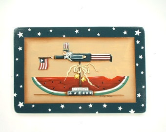 USA Liberty Hand Painted Patriotic Wood Plaque 103