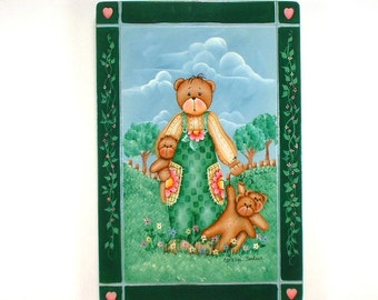 Mother Bear & Babies Hand Painted Wood Plaque 112