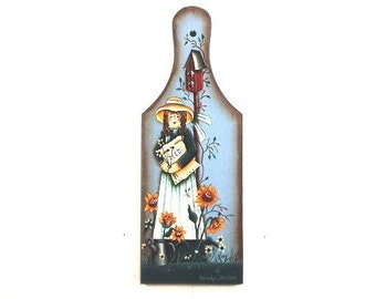 Sunflower Girl Hand Painted Wood Paddle 611