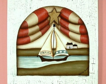 Summer Sailing Hand Painted on Wood 434