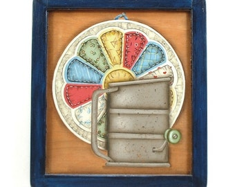 Antique Flour Sifter Hand Painted Framed Wood Plaque 538