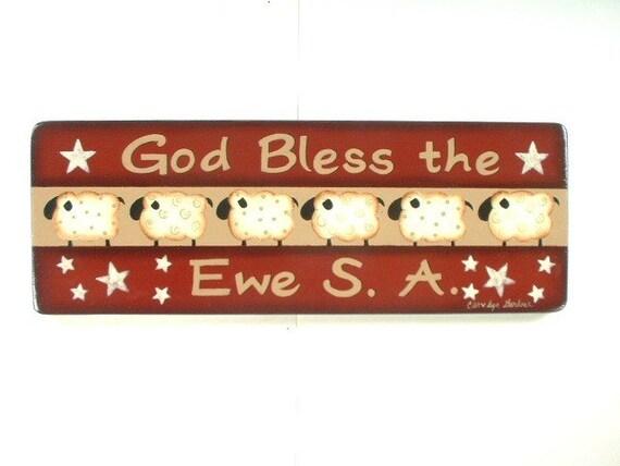 God Bless USA Sign Decorative Arts Wall Hanging 606