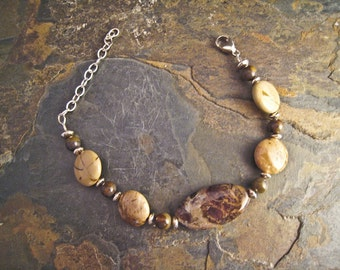 Handcrafted Petrified Wood, Jasper and Sterling Silver Bracelet (B025)