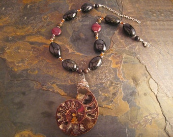 Handcrafted Ammonite Fossil, Tourmaline, Amber, Agate, Marble and Sterling Silver Necklace (N016)