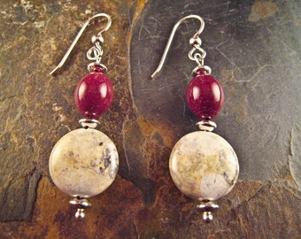 Handcrafted Jasper and Sterling Silver Earrings (E189)
