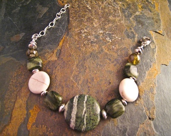 Handcrafted Jasper, Jade, Garnet, Magnesite and Sterling Silver Bracelet (B073)