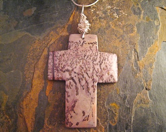 Handcrafted Japer and Sterling Silver Cross Pendant (P155)