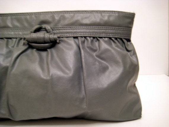 Grey Vintage Ruched\/Gathered Clutch\/Wristlet with Wrapped Toggle